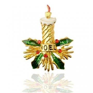 BaiXing Weihnachtskerze Brosche grüne Legierung Kleidung europäischen und amerikanischen Oil 琅 Tropfen Ölstift gehobenen 3 Pack - 1