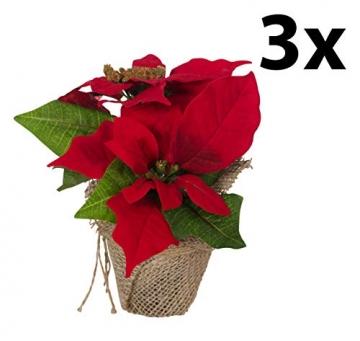 Bambelaa! 3 StückWeihnachtsstern künstlich Fenster naturgetreu Weihnachten Dekoration Weihnachtsdeko (Rot) - 3