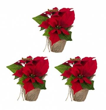 Bambelaa! 3 StückWeihnachtsstern künstlich Fenster naturgetreu Weihnachten Dekoration Weihnachtsdeko (Rot) - 1