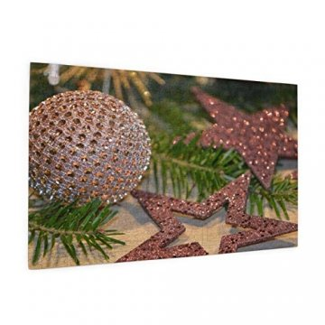 Baumzweig Winterstern Deko Essen Braun Weihnachten Tanne Glitzer Adventsdeko 520 Teile Bildpuzzles Spaß Kreative Geschenke für Kinder Erwachsene zum Geburtstag Weihnachten - 2