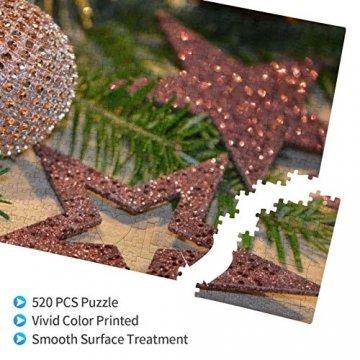 Baumzweig Winterstern Deko Essen Braun Weihnachten Tanne Glitzer Adventsdeko 520 Teile Bildpuzzles Spaß Kreative Geschenke für Kinder Erwachsene zum Geburtstag Weihnachten - 3