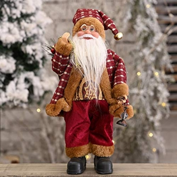 beeyuk Weihnachtsmann Dekoration Deko Desktop Santa Claus Figur Tragbare Lebensechte Santa Puppe Figur Perfekte Ornament - 7