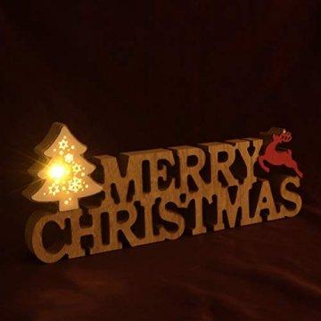 BESPORTBLE Schriftzug Weihnachten Holz Merry Christmas Beleuchtet Weihnachtsbaum Tischdeko Nachtlicht Schreibtischlampe Schlafzimmer Nachtlampe Weihnachtsdekoration Party Festival Geschenk - 2