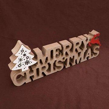 BESPORTBLE Schriftzug Weihnachten Holz Merry Christmas Beleuchtet Weihnachtsbaum Tischdeko Nachtlicht Schreibtischlampe Schlafzimmer Nachtlampe Weihnachtsdekoration Party Festival Geschenk - 4
