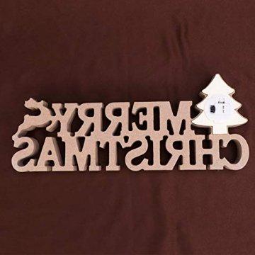 BESPORTBLE Schriftzug Weihnachten Holz Merry Christmas Beleuchtet Weihnachtsbaum Tischdeko Nachtlicht Schreibtischlampe Schlafzimmer Nachtlampe Weihnachtsdekoration Party Festival Geschenk - 5