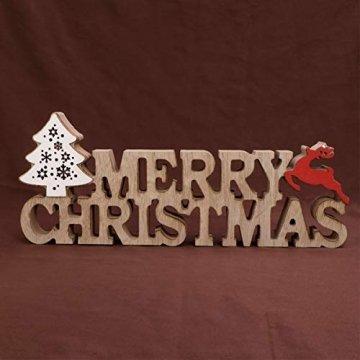 BESPORTBLE Schriftzug Weihnachten Holz Merry Christmas Beleuchtet Weihnachtsbaum Tischdeko Nachtlicht Schreibtischlampe Schlafzimmer Nachtlampe Weihnachtsdekoration Party Festival Geschenk - 8