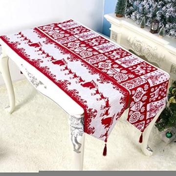 Bestickter Tischläufer für Weihnachtsdekoration, Weihnachtsdekoration, Weihnachts-Tischwäsche für Weihnachtsdekoration, Heimtischdecke, dekorativ - 2