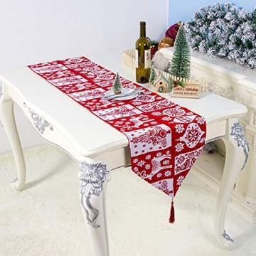Bestickter Tischläufer für Weihnachtsdekoration, Weihnachtsdekoration, Weihnachts-Tischwäsche für Weihnachtsdekoration, Heimtischdecke, dekorativ - 4