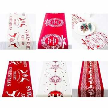 Blanketswarm Weihnachtstischläufer, Weihnachtstischwäsche, Tischdecke, Tischdecke für Familienessen, Party, Zuhause, Urlaub, Dekoration, 28 x 270 cm - 6