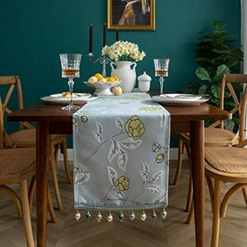 Blaue Blume Bestickter Tischläufer, Weihnachts-Tischwäsche Klassischer Tischläufer Mit Kugelquaste Für Weihnachtsmatte Esszimmer Party Holiday Decor,33X260CM - 2