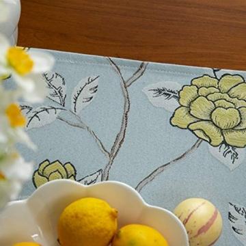 Blaue Blume Bestickter Tischläufer, Weihnachts-Tischwäsche Klassischer Tischläufer Mit Kugelquaste Für Weihnachtsmatte Esszimmer Party Holiday Decor,33X260CM - 3