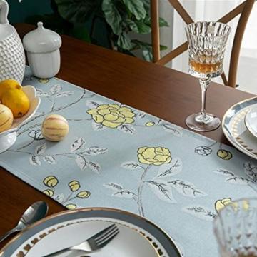 Blaue Blume Bestickter Tischläufer, Weihnachts-Tischwäsche Klassischer Tischläufer Mit Kugelquaste Für Weihnachtsmatte Esszimmer Party Holiday Decor,33X260CM - 4