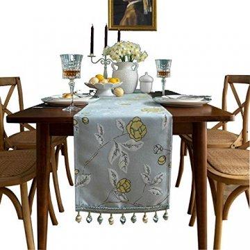 Blaue Blume Bestickter Tischläufer, Weihnachts-Tischwäsche Klassischer Tischläufer Mit Kugelquaste Für Weihnachtsmatte Esszimmer Party Holiday Decor,33X260CM - 1