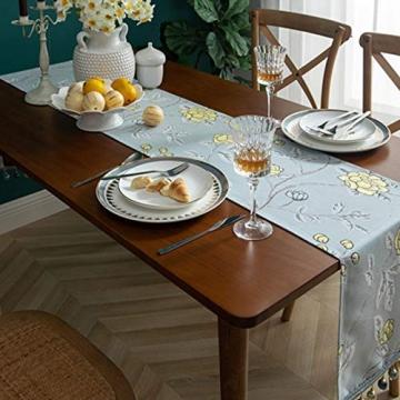 Blaue Blume Bestickter Tischläufer, Weihnachts-Tischwäsche Klassischer Tischläufer Mit Kugelquaste Für Weihnachtsmatte Esszimmer Party Holiday Decor,33X260CM - 5
