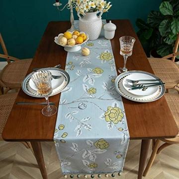 Blaue Blume Bestickter Tischläufer, Weihnachts-Tischwäsche Klassischer Tischläufer Mit Kugelquaste Für Weihnachtsmatte Esszimmer Party Holiday Decor,33X260CM - 6