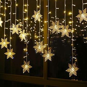 BLOOMWIN 2x1M Schneeflocken Lichtervorhang Warmweiß, USB Weihnachtesbeleuchtung 8Modi Lichterkettenvorhang 104LEDs Stimmungslichter für Balkon, Fenster, Hochzeit, Weihnachten IP44 Lichterkette - 2