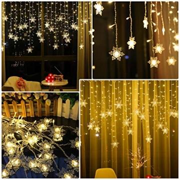 BLOOMWIN 2x1M Schneeflocken Lichtervorhang Warmweiß, USB Weihnachtesbeleuchtung 8Modi Lichterkettenvorhang 104LEDs Stimmungslichter für Balkon, Fenster, Hochzeit, Weihnachten IP44 Lichterkette - 3