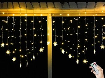 BLOOMWIN 2x1M Schneeflocken Lichtervorhang Warmweiß, USB Weihnachtesbeleuchtung 8Modi Lichterkettenvorhang 104LEDs Stimmungslichter für Balkon, Fenster, Hochzeit, Weihnachten IP44 Lichterkette - 1