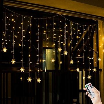 BLOOMWIN 2x1M Schneeflocken Lichtervorhang Warmweiß, USB Weihnachtesbeleuchtung 8Modi Lichterkettenvorhang 104LEDs Stimmungslichter für Balkon, Fenster, Hochzeit, Weihnachten IP44 Lichterkette - 9
