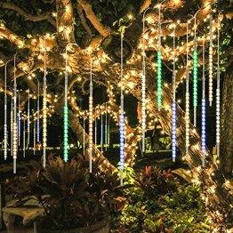 BlueFire Aufgerüstet Meteorschauer Regen Lichter, 50cm 10 Spirale Spirale Tubes 540 LEDs Wasserdichte Schneefall Lichterkette für Draussen/Innenraum/Garten/Hochzeit/Party/Weihnachten Dekoration (Bunt) - 1