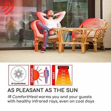 blumfeldt Heat Square - Infrarot-Heizstrahler mit Fernbedienung, Terrassen-Heizstrahler, 1000/2000 Watt, IR ComfortHeat Technologie, LED, schwarz - 2