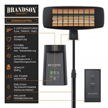 Brandson - Heizstrahler mit Fernbedienung - Wärmelampe Terrassenheizstrahler - 3 Leistungsstufen Heizelemente - Inkl. Fernbedienung - LED Power-Indikator - Wandhalterung - 3