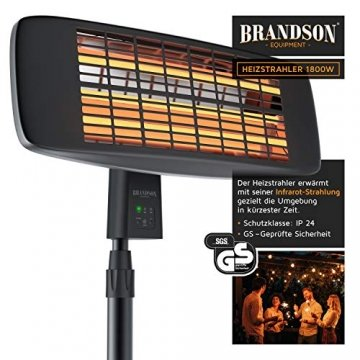 Brandson - Heizstrahler mit Fernbedienung - Wärmelampe Terrassenheizstrahler - 3 Leistungsstufen Heizelemente - Inkl. Fernbedienung - LED Power-Indikator - Wandhalterung - 4