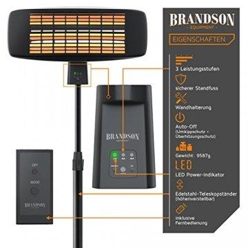 Brandson - Wickeltischheizstrahler - Heizstrahler Wärmelampe - Standheizstrahler - 3 Leistungsstufen Heizelemente - inkl. Fernbedienung - LED Power-Indikator - Wandhalterung - 4