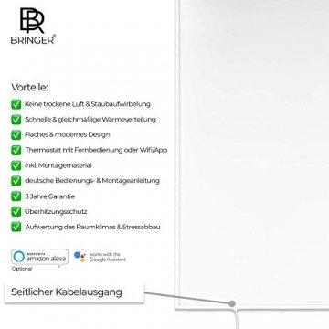 Bringer Infrarotheizung Infrarot Wandheizung Heizung Heizkörper Thermostat (1200 Watt, Heizplatte und Thermostat mit Fernbedienung (BRTF)) - 2
