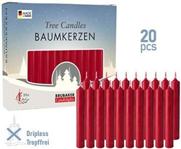Brubaker 20er Pack Baumkerzen Wachs - Weihnachtskerzen Pyramidenkerzen Christbaumkerzen - Dunkelrot - 2
