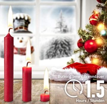 Brubaker 20er Pack Baumkerzen Wachs - Weihnachtskerzen Pyramidenkerzen Christbaumkerzen - Dunkelrot - 4