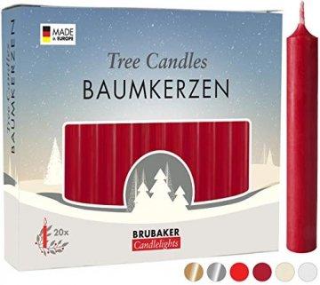 Brubaker 20er Pack Baumkerzen Wachs - Weihnachtskerzen Pyramidenkerzen Christbaumkerzen - Dunkelrot - 1