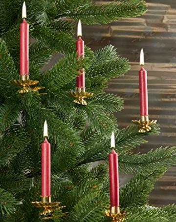 Brubaker 20er Pack Baumkerzen Wachs - Weihnachtskerzen Pyramidenkerzen Christbaumkerzen - Dunkelrot - 6