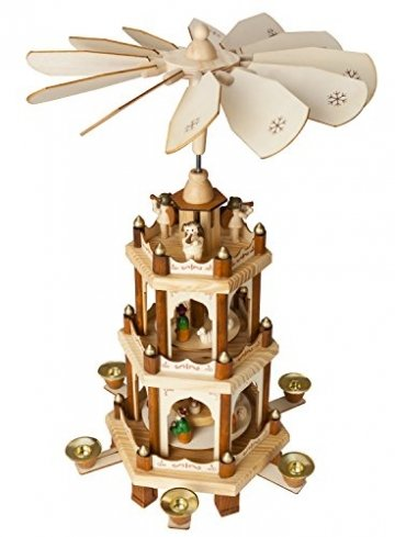 Brubaker Weihnachtspyramide Holzpyramide - Natur - 3 Etagen - 45 cm Höhe - handbemalte Figuren - 1