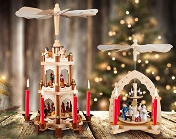 Brubaker Weihnachtspyramide Holzpyramide - Natur - 3 Etagen - 45 cm Höhe - handbemalte Figuren - 8