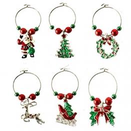 CAIRLEE Weihnachten Weinglas Ring Anhänger Ornamente für Home Christmas Party Dekoration - 1