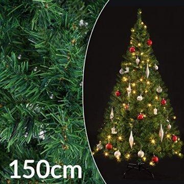 Casaria Weihnachtsbaum 150 bis 180 cm Ständer LED Lichterkette künstlicher Tannenbaum Weihnachten Baum PVC Grün 150 cm - 4