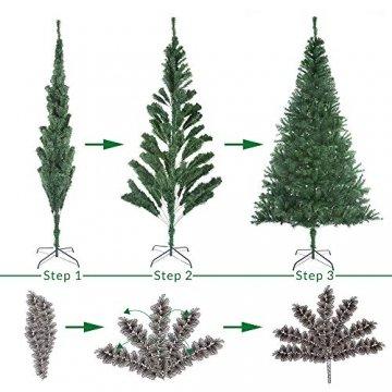Casaria Weihnachtsbaum 150 bis 180 cm Ständer LED Lichterkette künstlicher Tannenbaum Weihnachten Baum PVC Grün 150 cm - 5
