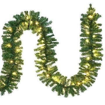 Casaria Weihnachtsgirlande 5m Girlande 100 LEDs Weihnachten Innen Außen IP44 Weihnachtsdeko Tannengirlande warmweiß - 1