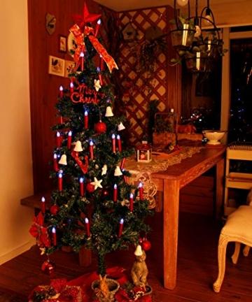CCLIFE TÜV GS LED Weihnachtskerzen Kabellos RGB Kerzen Bunt Weihnachtsbaumkerzen Christbaumkerzen mit Fernbedienung Timer Kerzenlichter, Farbe:Rot, Größe:20er - 2