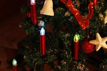 CCLIFE TÜV GS LED Weihnachtskerzen Kabellos RGB Kerzen Bunt Weihnachtsbaumkerzen Christbaumkerzen mit Fernbedienung Timer Kerzenlichter, Farbe:Rot, Größe:20er - 3