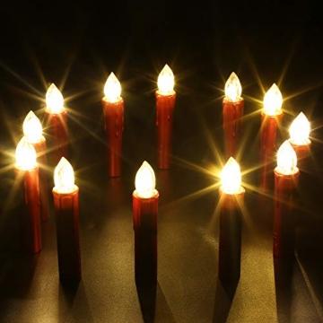 CCLIFE TÜV GS LED Weihnachtskerzen Kabellos RGB Kerzen Bunt Weihnachtsbaumkerzen Christbaumkerzen mit Fernbedienung Timer Kerzenlichter, Farbe:Rot, Größe:20er - 4