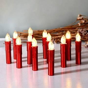 CCLIFE TÜV GS LED Weihnachtskerzen Kabellos RGB Kerzen Bunt Weihnachtsbaumkerzen Christbaumkerzen mit Fernbedienung Timer Kerzenlichter, Farbe:Rot, Größe:20er - 1