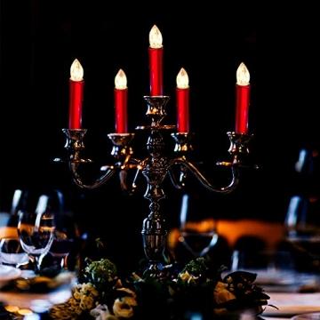 CCLIFE TÜV GS LED Weihnachtskerzen Kabellos RGB Kerzen Bunt Weihnachtsbaumkerzen Christbaumkerzen mit Fernbedienung Timer Kerzenlichter, Farbe:Rot, Größe:20er - 5
