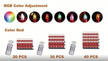 CCLIFE TÜV GS LED Weihnachtskerzen Kabellos RGB Kerzen Bunt Weihnachtsbaumkerzen Christbaumkerzen mit Fernbedienung Timer Kerzenlichter, Farbe:Rot, Größe:20er - 7