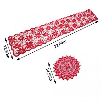 changsha Tischläufer, rote Blätter, Spitze, Weihnachts-Tischwäsche und Tischsets für Weihnachten, Urlaub, Party, Tischdekoration, 33 x 183 cm, 5 Stück - 3