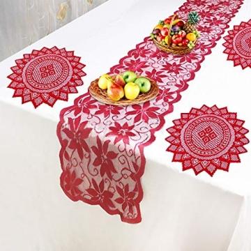 changsha Tischläufer, rote Blätter, Spitze, Weihnachts-Tischwäsche und Tischsets für Weihnachten, Urlaub, Party, Tischdekoration, 33 x 183 cm, 5 Stück - 4