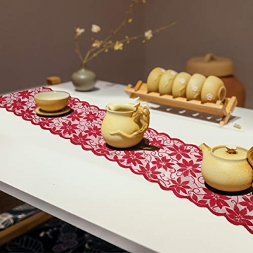 changsha Tischläufer, rote Blätter, Spitze, Weihnachts-Tischwäsche und Tischsets für Weihnachten, Urlaub, Party, Tischdekoration, 33 x 183 cm, 5 Stück - 5