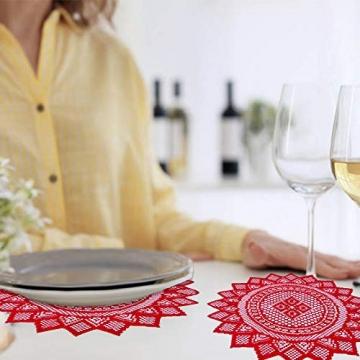 changsha Tischläufer, rote Blätter, Spitze, Weihnachts-Tischwäsche und Tischsets für Weihnachten, Urlaub, Party, Tischdekoration, 33 x 183 cm, 5 Stück - 6