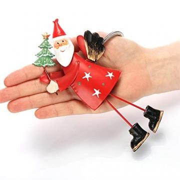 com-four® 2-teilges Hängedeko Set aus Metall - Weihnachtsmannfigur und Schneemannfigur zum Aufhängen - weihnachtliche Dekoration - Weihnachtsdeko - 3